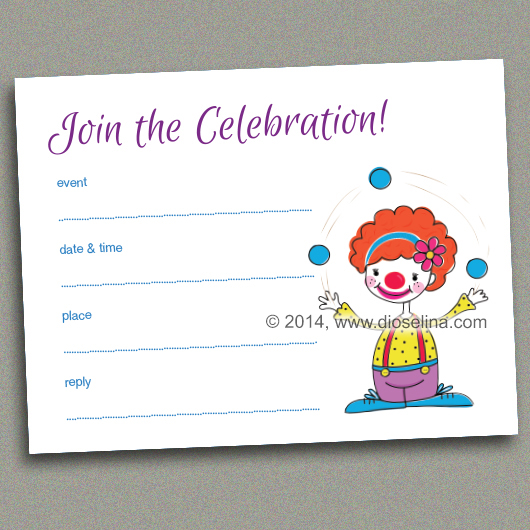 graphic about Blank Printable Invitations named Juggling Clown, Fill-inside of-the-blank, printable invitation